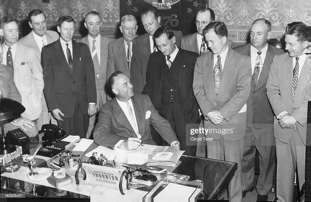 APR 27 1953, APR 28 1953; Governor Thornton confers Tuesday with twelve members of the state legisla : News Photo
