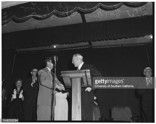 Governor Warren at Long Beach political meeting 20 May 1952 Governor Earl WarrenGeorge Murphy Warren addresses Long Beach Council of Women Republican...
