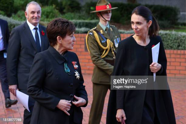 Governor-General Dame Patsy Reddy and Prime Minister Jacinda Ardern talk after the State Memorial Service for Prince Philip, Duke of Edinburgh, at...