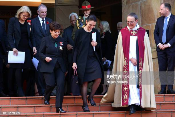 Governor-General Dame Patsy Reddy, Prime Minister Jacinda Ardern and the Very Reverend David Rowe make an exit after the State Memorial Service for...