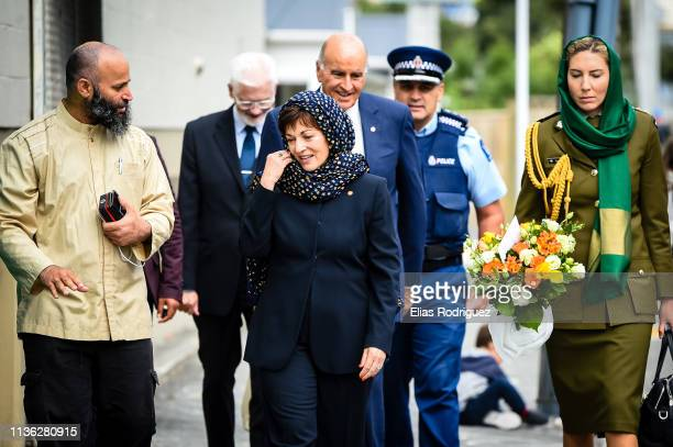 GovernorGeneral Her Excellency The Rt Hon Dame Patsy Reddy arrives at the Kilbirnie Mosque on March 17 2019 in Wellington New Zealand 50 people are...