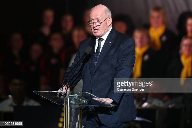 Governor-General of Australia Sir Peter Cosgrove speaks during the Invictus Games Sydney 2018 Opening Ceremony at Sydney Opera House on October 20,...