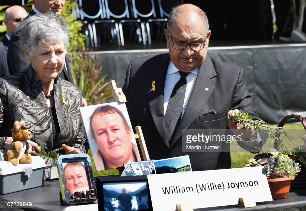 Governor-General of New Zealand Sir Anand Satyanand and Lady Susan Satyanand lay a fern at a national memorial service for the 29 miners that lost...