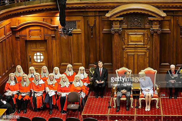 GovernorGeneral Sir Jerry Mateparae Lady Janine Mateparae and the New Zealand High Court Judiciary look on during the 51st Parliament's State Opening...