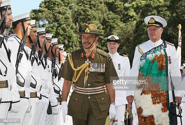 GovernorGeneral Sir Jerry Mateparae reviews the Beat the retreat at the Treaty Grounds on February 5 2013 in Waitangi New Zealand The Waitangi Day...
