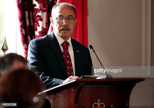 GovernorGeneral Sir Jerry Mateparae speaks during a State Welcome for President Xi Jinping Of China at Government House on November 20 2014 in...
