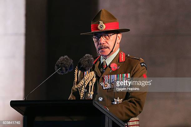 GovernorGeneral Sir Jerry Mateparae speaks during Dawn Service at Pukeahu National War Memorial Park on April 25 2016 in Wellington New Zealand In...