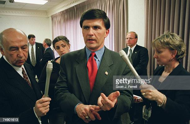 GOVERNORRobert L Ehrlich Jr RMd US Representative from the 2nd district talks to media at the end of a rally at the BethesdaChevy Chase Rescue Squad...