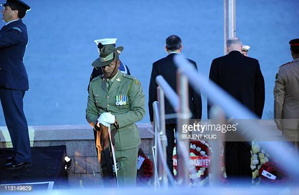 Governors and military members attend a ceremony, marking the 96th anniversary of Anzac Day at Anzac Cove, in western Canakkale, on April 25, 2011....
