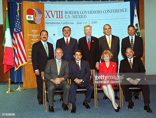 Governors gathered for a group photo at the start of the 18th Annual Border Governors Conference in Sacramento 01 June 2000 Standing are Governors...