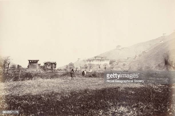 Governor's House at Paro in Bhutan This image was possibly taken during Ashley Eden's Mission to Bhutan in 1863 Myanmar 1860
