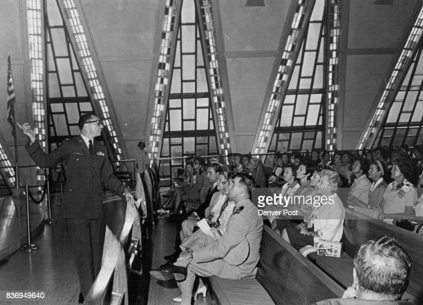 Governors' Wives learn About Architecture of chapel at united states air force Academy Detailing symbolism of structure is Maj Gilbert Amelio the...