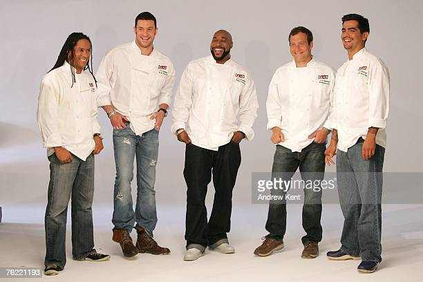 Govind Armstrong Sam Talbot Gerry Garvin Dave Lieberman and Aason Sanchez laugh during a photo shoot of the five chefs in Glad's Steamiest Chef...