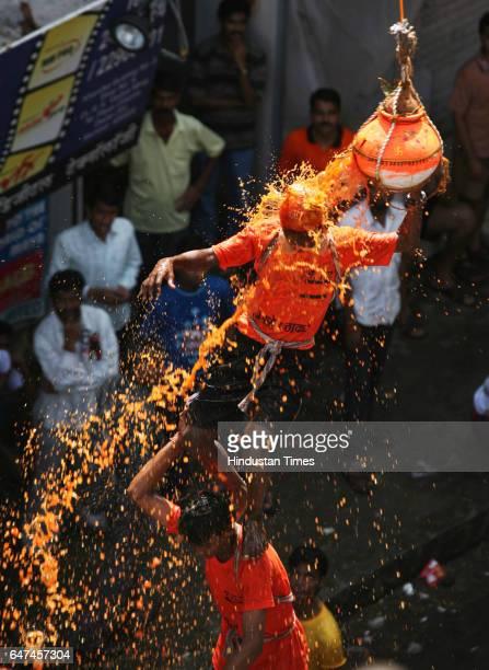 Govinda breaking Dahi Handi at Dadar