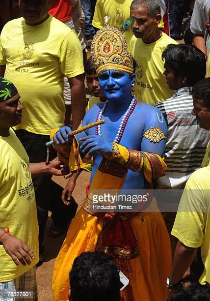 Govinda dressup as Lord Shri Krishna during celebrations of Janmashtami which marks the birth of Hindu God Lord Krishna at Jambori Maidan Worli on...