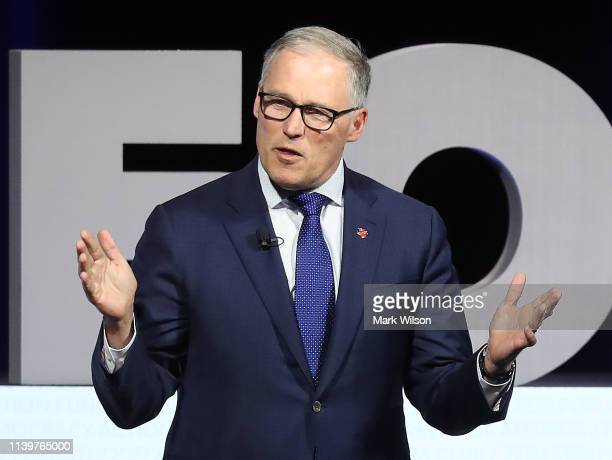 """GovJay Inslee speaks during the """"We the People summit featuring 2020 presidential candidates at the Warner Theatre on April 1 2019 in Washington DC..."""