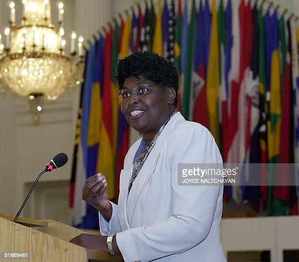 Govornor of the State of Rio de Janeiro Benedita da Silva addresses an Organization of American States Permanent Council meeting on women's...