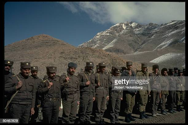 Govt. Troops prob. Fr. 3rd Div. Of Interior Ministry Sarandoy Police at security post at 2nd of 3 def. Perimeters surrounding Kabul, Afghanistan.