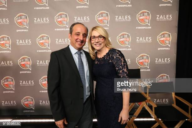 Gowdy award winners Doris Burke and Andy Bernstein pose for portrait during the 2018 Naismith Memorial Basketball Hall of Fame announcement at...