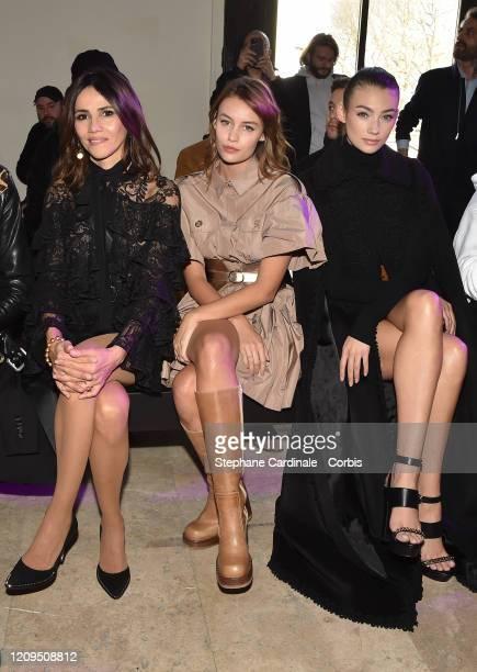Goya Toledo Lena Simonne and Lorena Rae attend the Elie Saab show as part of the Paris Fashion Week Womenswear Fall/Winter 2020/2021 on February 29...