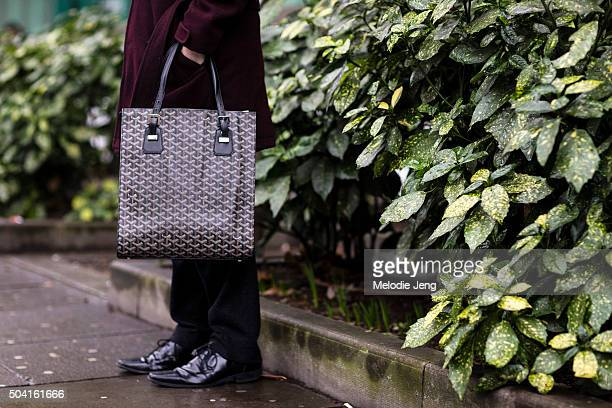 Goyard tote bag during The London Collections Men AW16 on January 8 2016 in London England