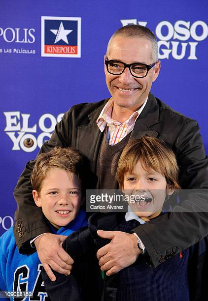 Goyo Gonzalez and family attends El Oso Yogui premiere at Kinepolis Cinema on February 12 2011 in Madrid Spain