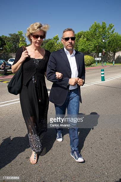 Goyo Gonzalez and Sara Garcia attend the funeral chapel for the journalist Concha Garcia Campoy at La Paz Morgue on July 12 2013 in Madrid Spain