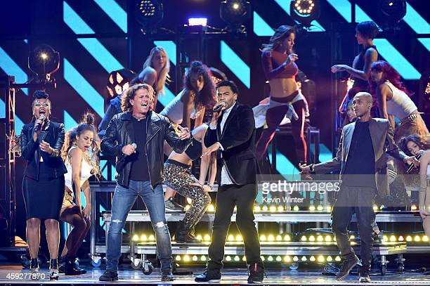 Goyo of ChocQuibTown singer Carlos Vives and Tostao and Slow of ChocQuibTown perform onstage during rehearsals for the 15th annual Latin GRAMMY...