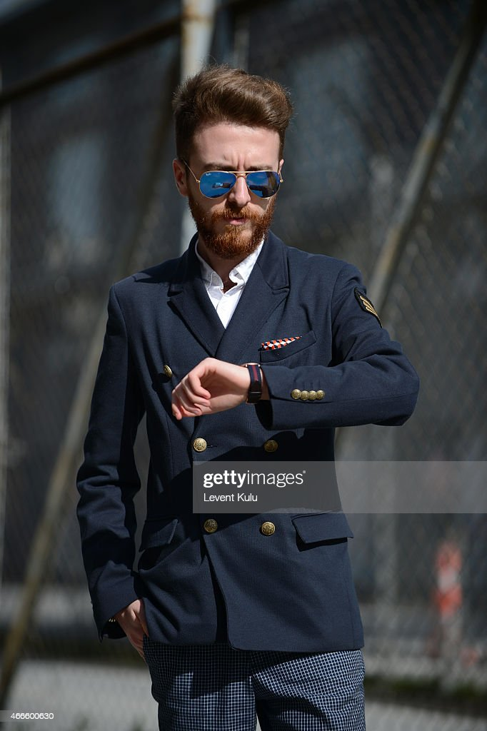 Goze Sener poses wearing jacket by Zara, jean by H&M and watch by Daniel Wellington during Mercedes Benz Fashion Week Istanbul FW15 on March 17, 2015 in Istanbul, Turkey.