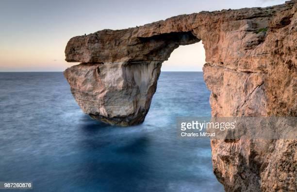 gozo azure window dwejra - natural arch stock pictures, royalty-free photos & images