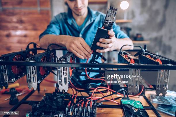 gpu setup for mining crypto currency - cryptocurrency mining stock pictures, royalty-free photos & images