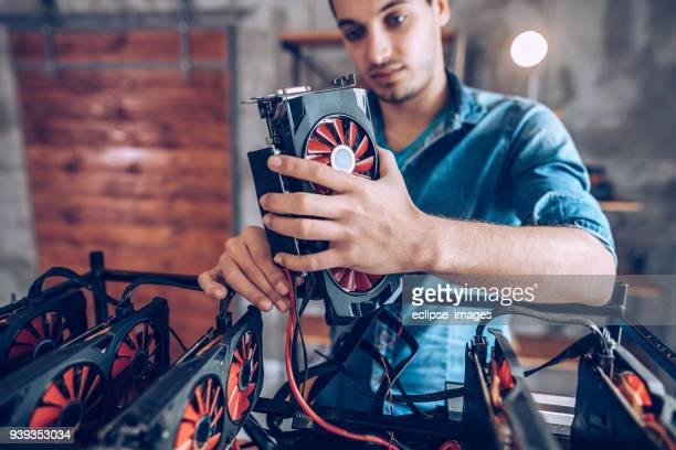 gpu setup for mining crypto currency - peer to peer stock pictures, royalty-free photos & images