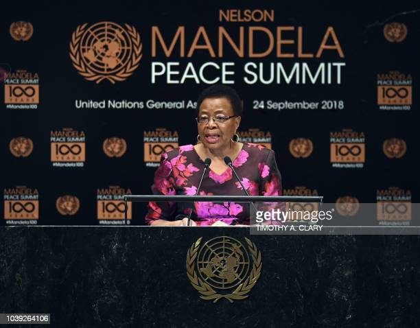 Graça Machel member of The Elders addresses the Nelson Mandela Peace Summit September 24 2018 a day before the start of the General Debate of the...
