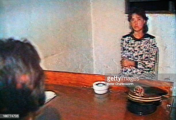 A 'grab frame' picture from a TV screen showing Chinese State Television footage of an interrogation of a Tiananmen Square protestors who has been...
