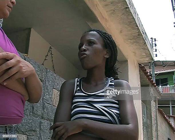 TV grab from AFP tv showing Vanessa de Cassia da Coinceçao speaking during an interview on January 5 at the favela Morro da Carioca in Angra dos Reis...