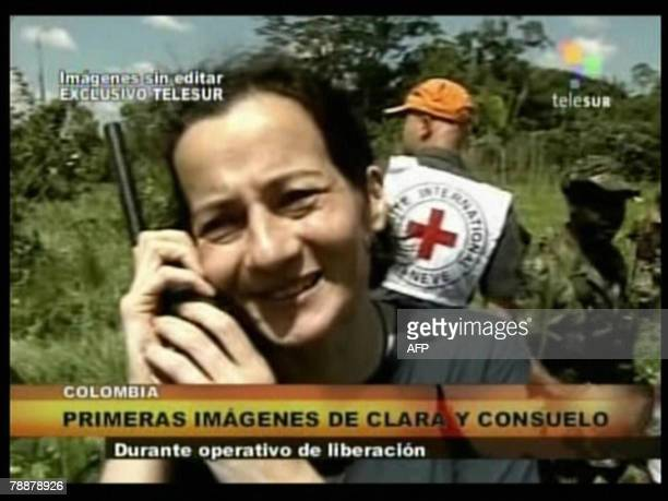 TV grab from Venezuelan channel Telesur showing Clara Rojas speaking on a mobile phone 10 January 2008 in Colombia after her release by the...