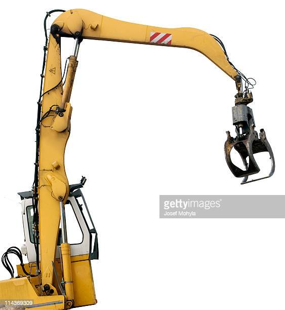 grab loader isolated on white - crane construction machinery stock pictures, royalty-free photos & images