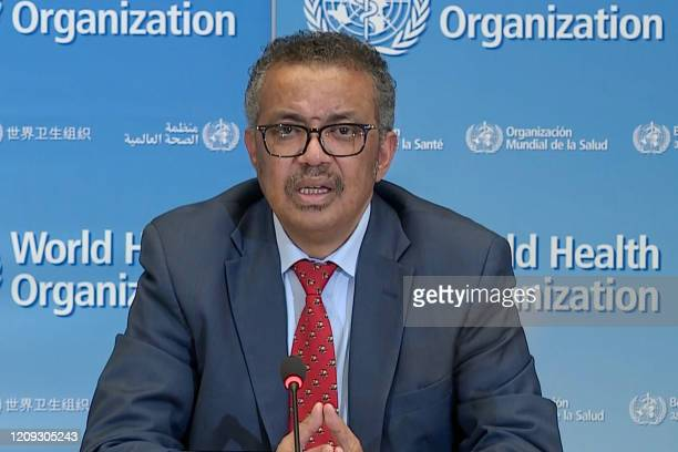 Grab taken from a video released by the World Health Organization shows WHO Chief Tedros Adhanom Ghebreyesus attending a virtual news briefing on...