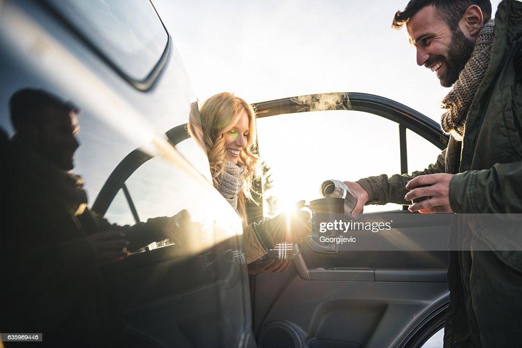 Grabbing a coffee : Stock Photo