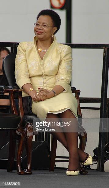 Graca Machel at the unveiling of his statue in Parliament Square on August 29 2007 in London