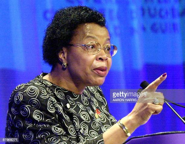 Graca Machel honorary chairperson of the International Conference on WarAffected Children speaks at the opening of the ministeriallevel meeting in...