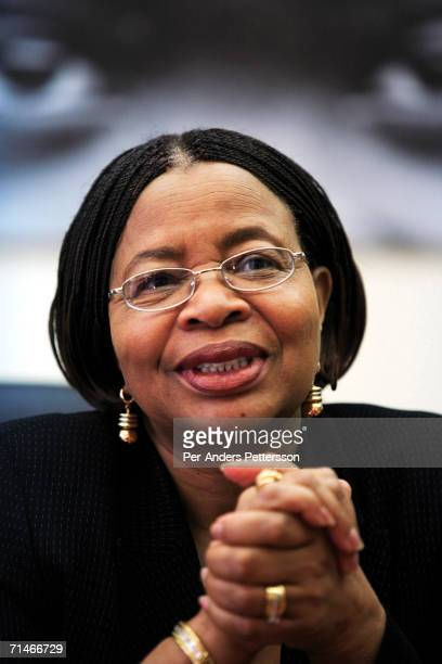Graca Machel talks about the work of her NGO Community Development Foundation on June 15 2006 in her offices in Maputo Mozambique The former first...