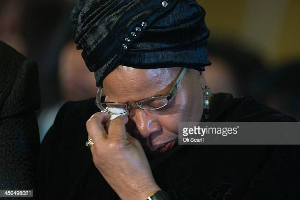 Graca Machel the widow of Nelson Mandela cries during an African National Congress led alliance send off ceremony for former South African President...