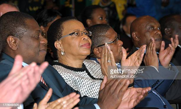 Graca Machel the wife of former South African president Nelson Mandela sits at the Mandela Foundation a few moments before giving a press conference...