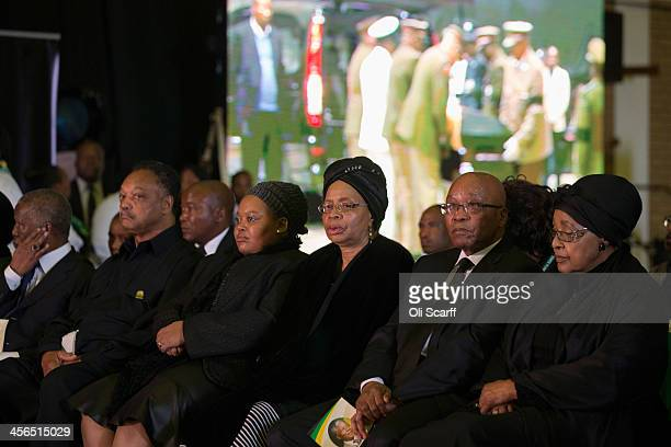 Graca Machel widow of Nelson Mandela South African President Jacob Zuma Winnie Mandela former wife of Nelson Mandela civil rights campaigner Jessie...