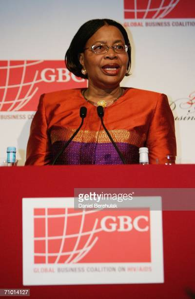 Graca Machel wife of Nelson Mandela gives a speech during the Annual Global Business Coalition on HIV/AIDS Excellence Gala reception on May 22 2006...