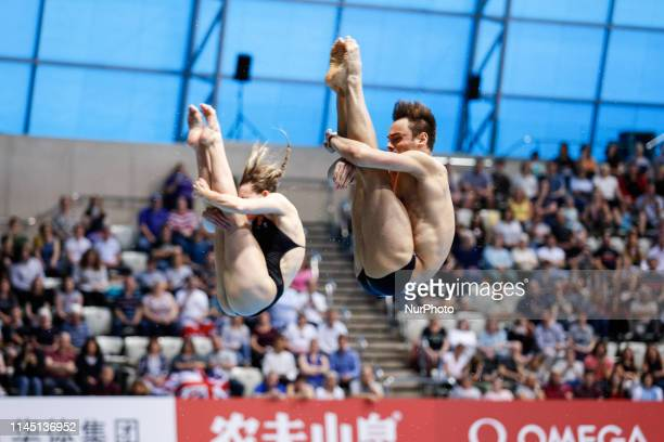 Grace and DALEY Thomas of Great Britain compete in the Mixed 3 meter Synchronized finals during the last meeting of the FINA Diving World Series 2019...