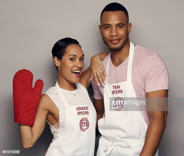 Grace and Trai Byers in the all-new MASTERCHEF CELEBRITY SHOWDOWN, airing Monday, Jan. 2 on FOX.