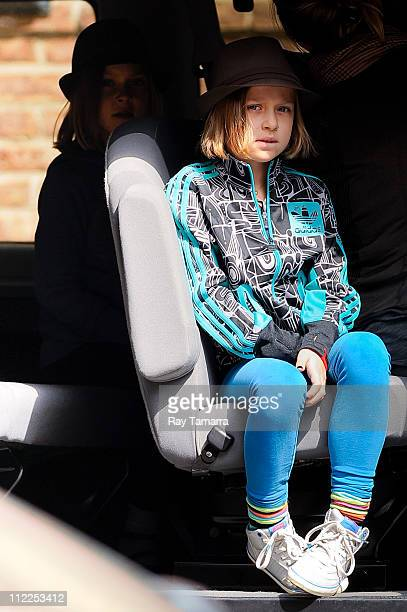Grace Anne Matthews and Stella Busina Matthews leave a Tribeca hotel on April 15 2011 in New York City