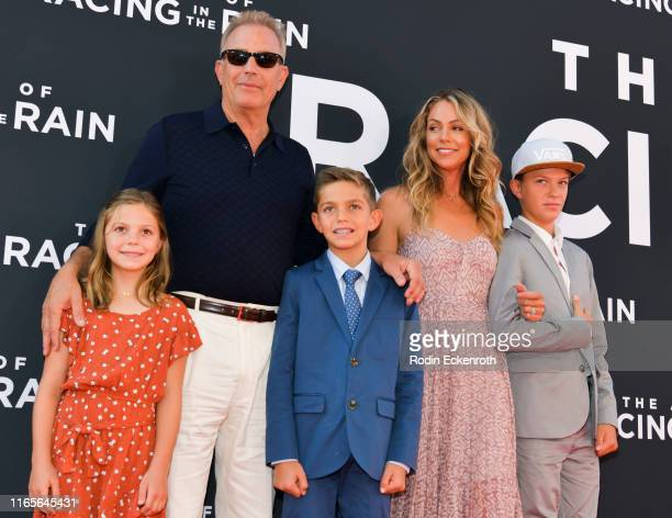 Grace Avery Costner, Kevin Costner, Hayes Logan Costner, Christine Baumgartner, and Cayden Wyatt Costner attend the premiere of 20th Century Fox's...